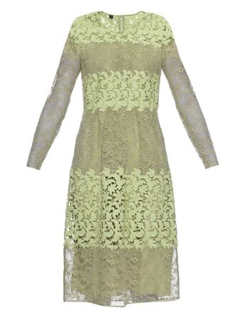 Burberry Prorsum Long-sleeved floral-lace and macramé dress gray