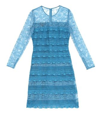 Burberry Prorsum Long-sleeved tiered-lace dress blue