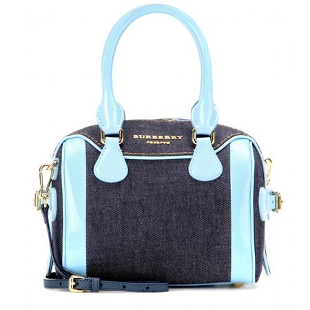 Burberry Prorsum Mini Bee Denim And Patent Leather Shoulder Bag black