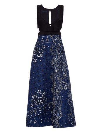 Burberry Prorsum Patchwork paisley-print midi dress black