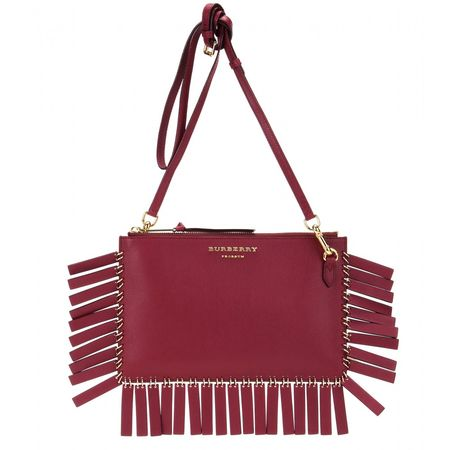Burberry Prorsum Peyton Fringed Leather Shoulder Bag red