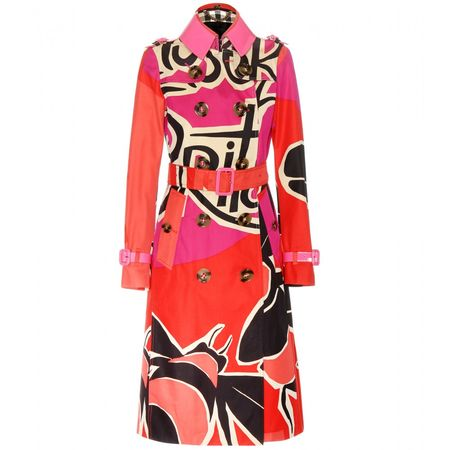 Burberry Prorsum Printed Cotton Trench Coat With Patent Leather Trims red