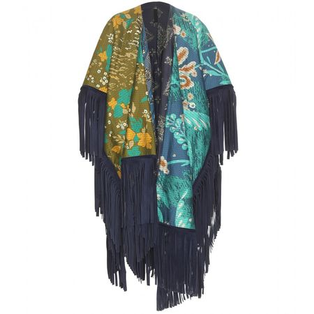 Burberry Prorsum Reversible Printed Cotton And Silk Poncho With Suede Fringe black