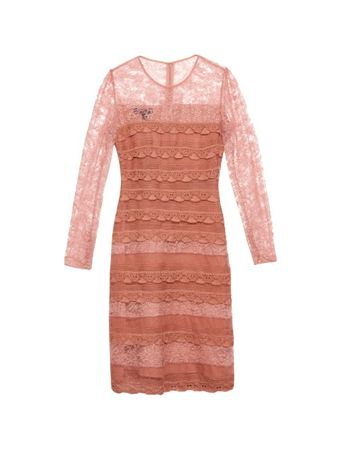 Burberry Prorsum Tiered French-lace dress brown