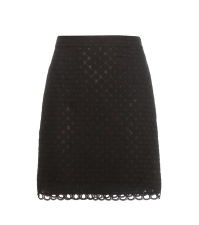 Carven  Cotton Broderie Anglaise Miniskirt black