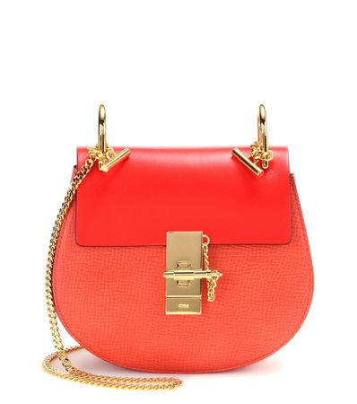 Chloé Drew Small Leather Shoulder Bag red