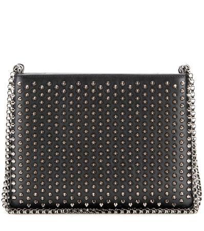 Christian Louboutin Triloubi Large Embellished Leather Shoulder Bag gray