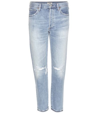 Citizens of Humanity Liya Distressed High-rise Cropped Jeans gray