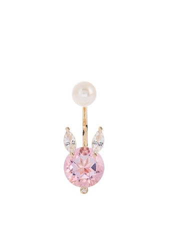 Delfina Delettrez Diamond, topaz, pearl & yellow-gold earring white