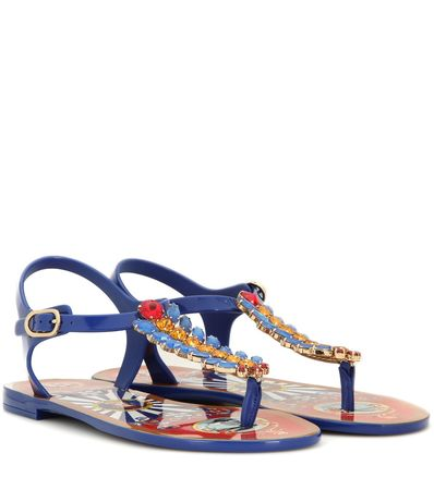 Dolce & Gabbana Crystal-embellished Sandals gray