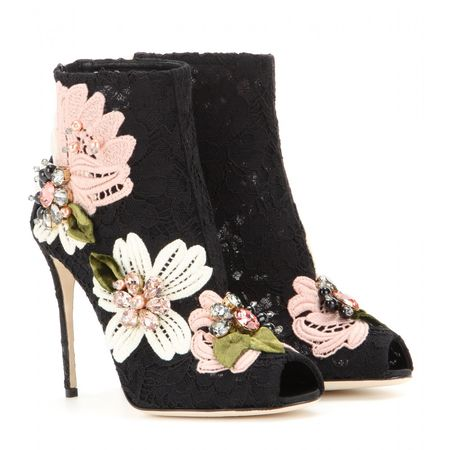 Dolce & Gabbana Embellished Lace Open-toe Ankle Boots black