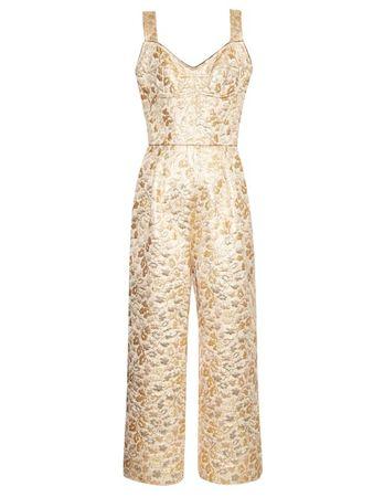 Dolce & Gabbana Floral-brocade wide-leg jumpsuit beige