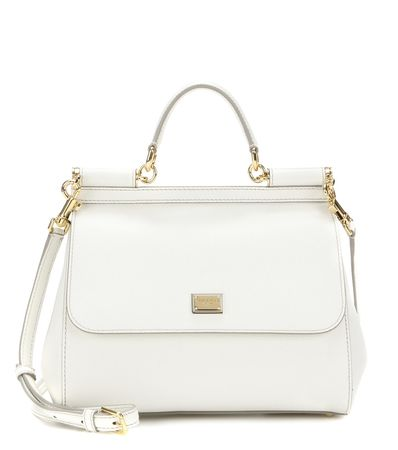 Dolce & Gabbana Miss Sicily Medium Leather Shoulder Bag white