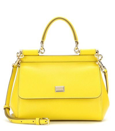 Dolce & Gabbana Miss Sicily Mini Leather Shoulder Bag yellow