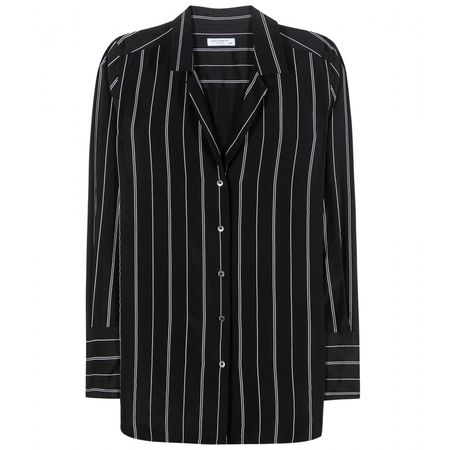 Equipment May Striped Silk Shirt black