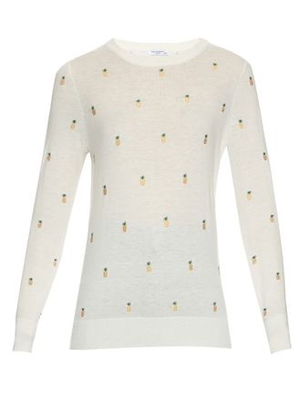 Equipment Shane pineapple-embroidered sweater beige