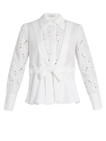 Erdem Janie broderie-anglaise panelled cotton shirt