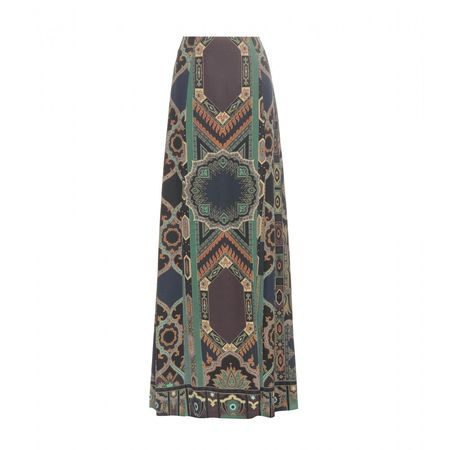 Etro Printed Silk Skirt gray