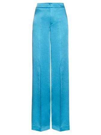 Etro Wide-leg crepe de Chine trousers turquoiseblue
