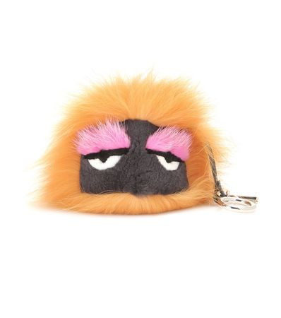Fendi Bag Bugs Charm With Fox, Mink And Rabbit Fur beige