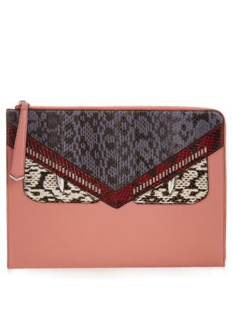 Fendi Bag Bugs leather and snakeskin pouch gray