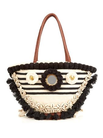 Figue Bardot Tuk Tuk embroidered tote beige