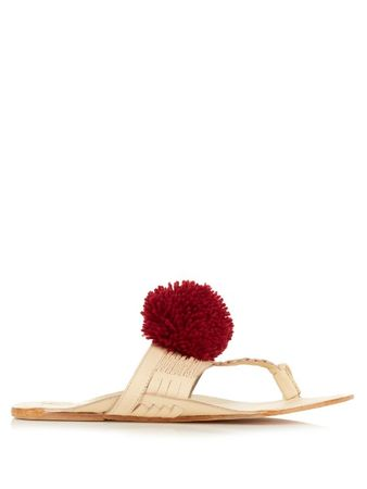 Figue Leo pompom leather sandals white