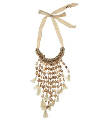 Figue Oceane shell and tassel necklace white