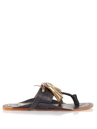 Figue Scaramouche leather sandals white