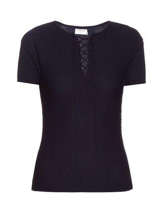 Frame Denim Le Crochet cotton-blend top black