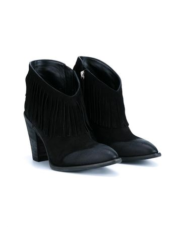 Giuseppe Zanotti Fringed Suede Booties black