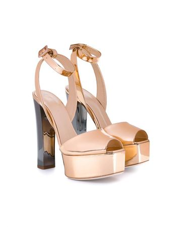 Giuseppe Zanotti Metallic Leather Sandals brown