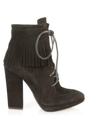 Giuseppe Zanotti Phatom Suede Fringe Heeled Boots gray