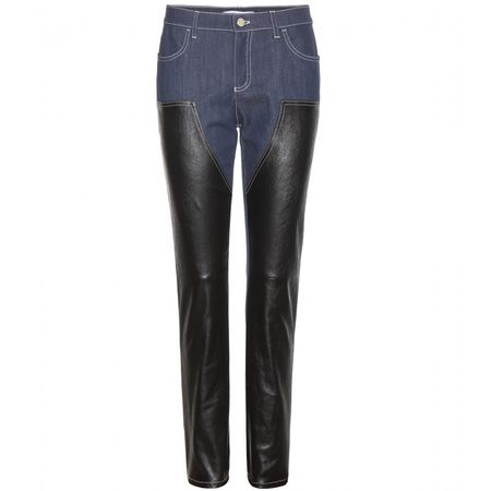 Givenchy Denim And Leather Trousers black