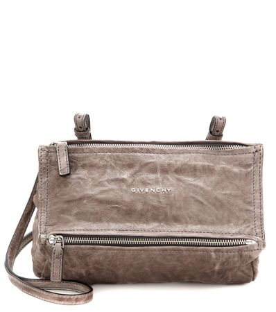 Givenchy Pandora Mini Leather Shoulder Bag gray