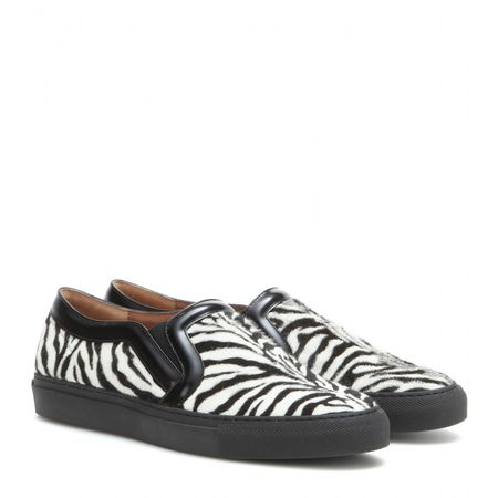 Givenchy Printed Calf-hair Slip-on Sneakers gray
