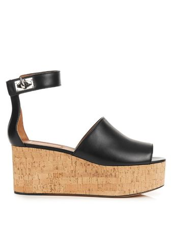 Givenchy Rinny leather flatform-wedge sandals black
