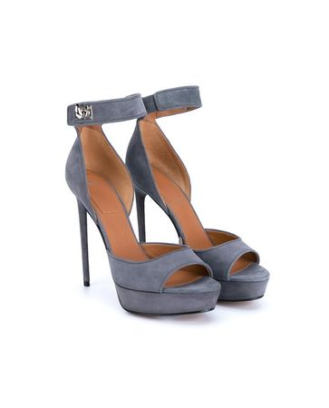Givenchy Suede Shark Lock Platforms gray