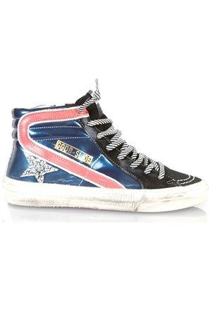 Golden Goose Slide Sneakers Blue Glitter Star white