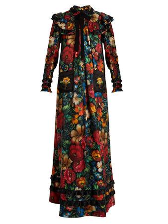 Gucci Floral-print long-sleeved silk dress