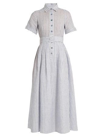Gül Hürgel Short-sleeved striped cotton and linen-blend dress