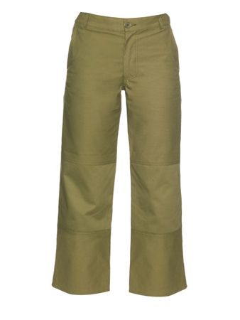 Hakone high-rise straight-leg cropped trousers green