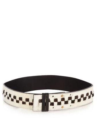 Palmer // Harding Checkerboard calf-hair belt