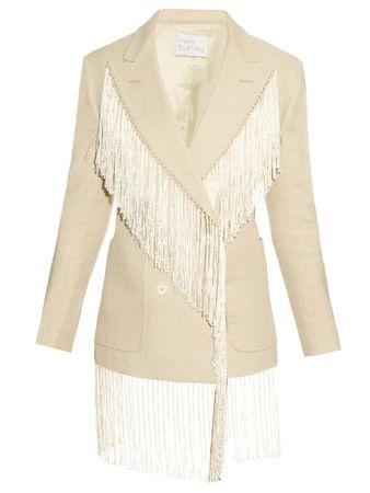 Hillier Bartley Fringed double-breasted linen blazer beige