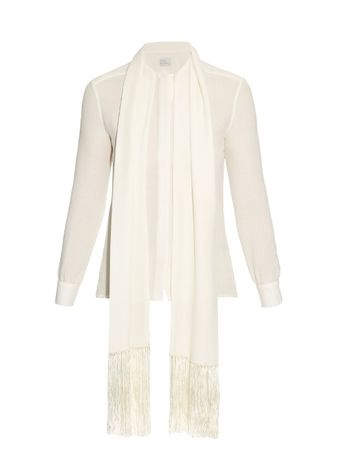 Hillier Bartley Fringed-scarf silk-crepe blouse white