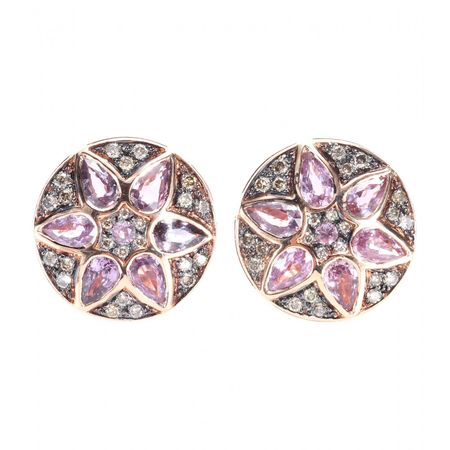 Ileana Makri Deco Flower 18kt Rose Gold Stud Earrings With Pink Sapphires And Brown Diamonds brown