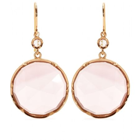 Irene Neuwirth 18kt Rose Gold Earrings With Rose De France Amethyst And White Diamond white