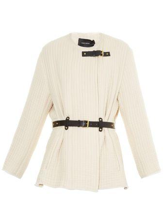 Isabel Marant Glasco belted quilted jacket beige