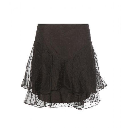 Isabel Marant Vadim Embroidered Silk Skirt gray