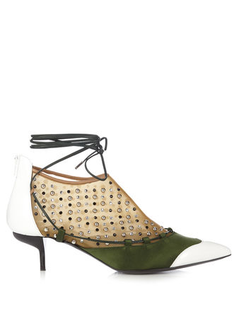 J. W. Anderson Embellished lace-up leather and satin pumps